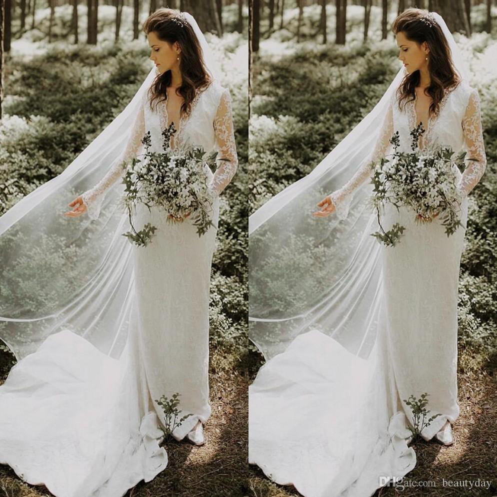 lace boho long sleeve sheath wedding dresses with belt elegant v neck  gardern country bridal wedding gowns beautiful wedding dress bridal  designers