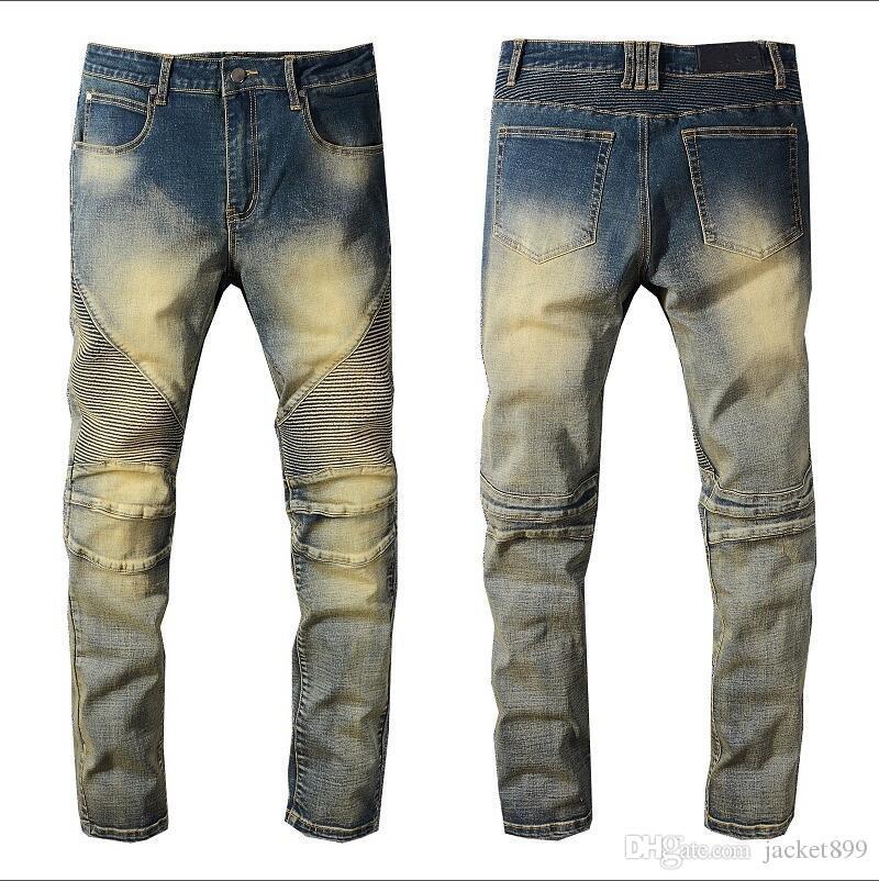 2019 Yeni Balma Jeans Yüksek Kalite Erkekler Jeans Patch İnce Küçük Ayaklar Lokomotif Erkek Jeans Boyutu 28-40 Boya