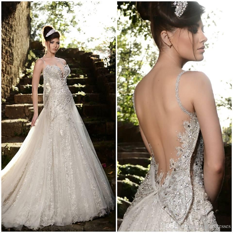 높은 품질 엘리 사브의 웨딩 드레스 정장 바닥 길이 등이없는 섹시한 저렴한 온라인 비치 새해 - 라인 민소매 웨딩 드레스
