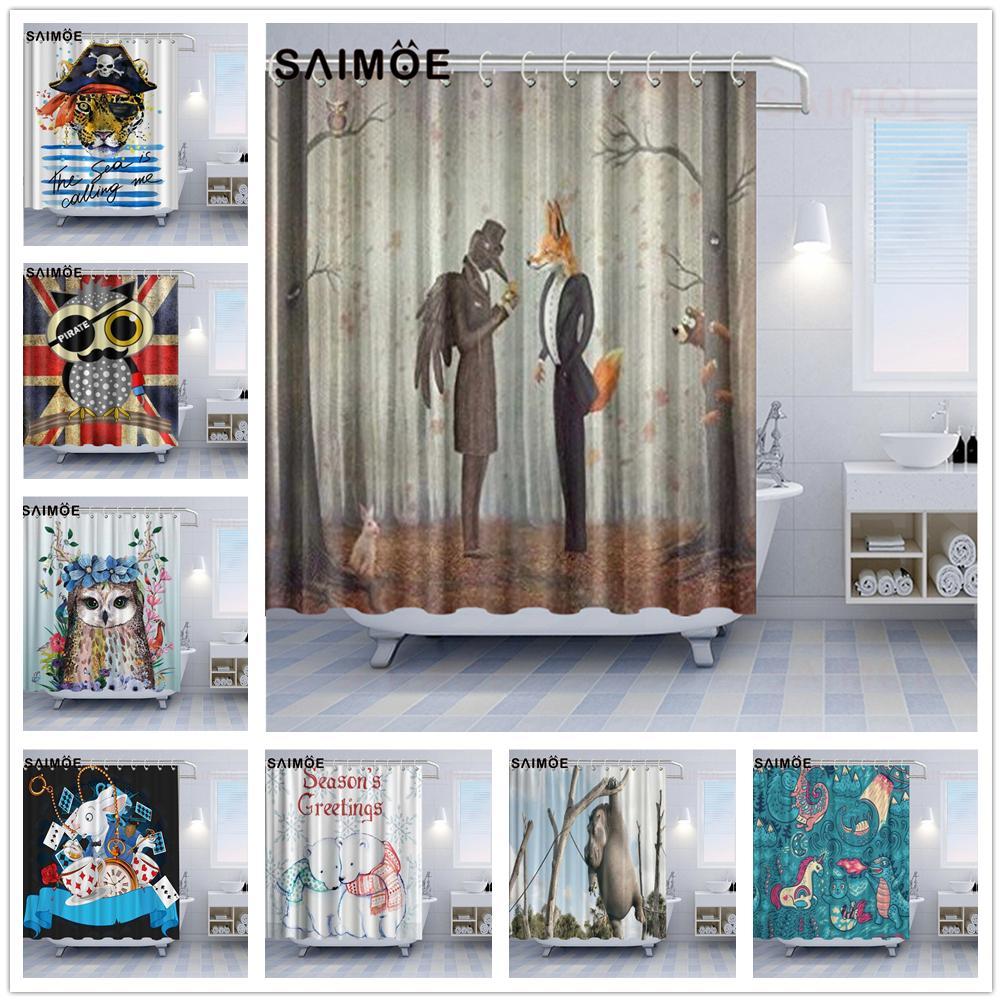 Animale sveglia Tende da doccia corvo e la volpe Hippo Coniglio divertente Bagno Doccia tenda della decorazione leopardo Pirate Banner Bath cortina impermeabile