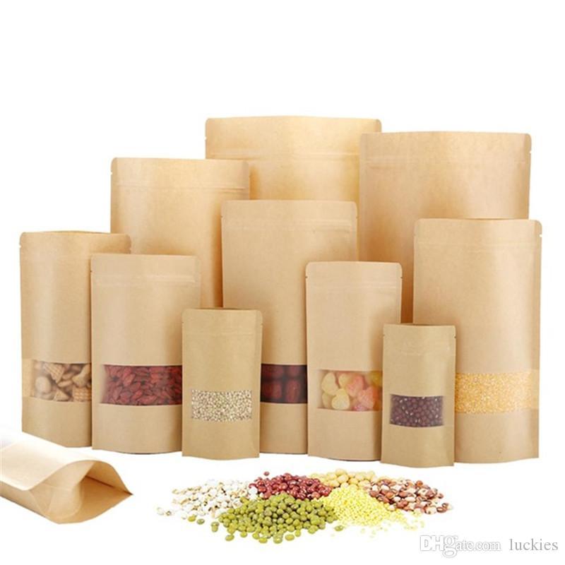 100 pçs / lote kraft papel saco alimento sacos à prova de umidade zíper levantam malotas de vedação reutilizáveis com janela transparente