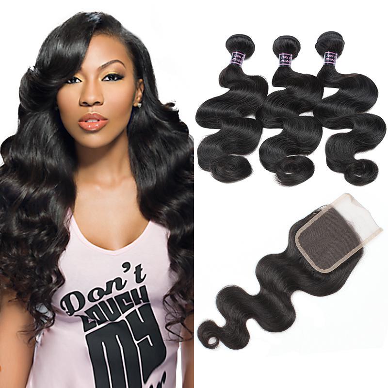 Pérou Human Hair Weave 3Bundles avec dentelle fermeture prolongements de cheveux humains Meilleur 10A brésilien Bundles cheveux avec fermeture de vague de corps en gros