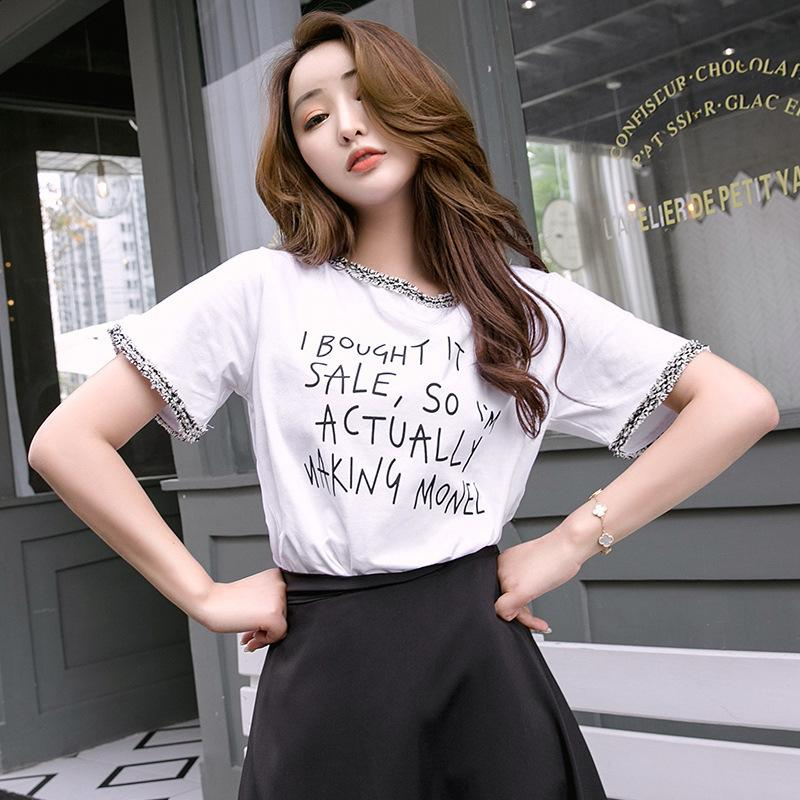 Pop2019 Sleeve Short Wide Leisure Time White Clothes Woman Printing Personality Lace T Pity Suit-dress Summer