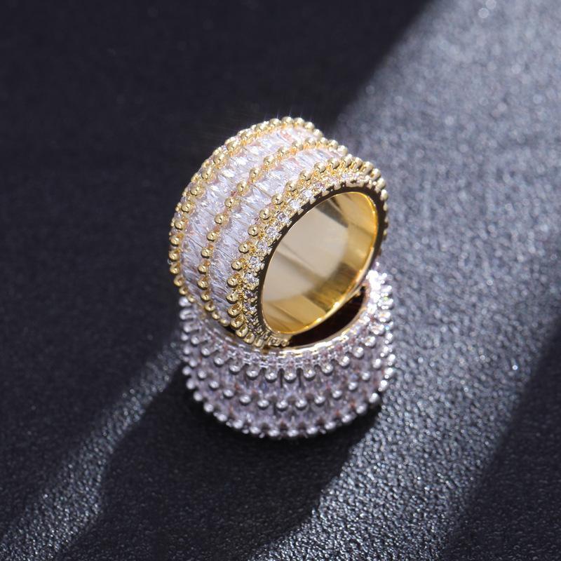 새로운 디자인 골드 실버 구 설정 돌 3 회 골드 높은 품질 지르콘 빛나는 힙합 손가락 반지