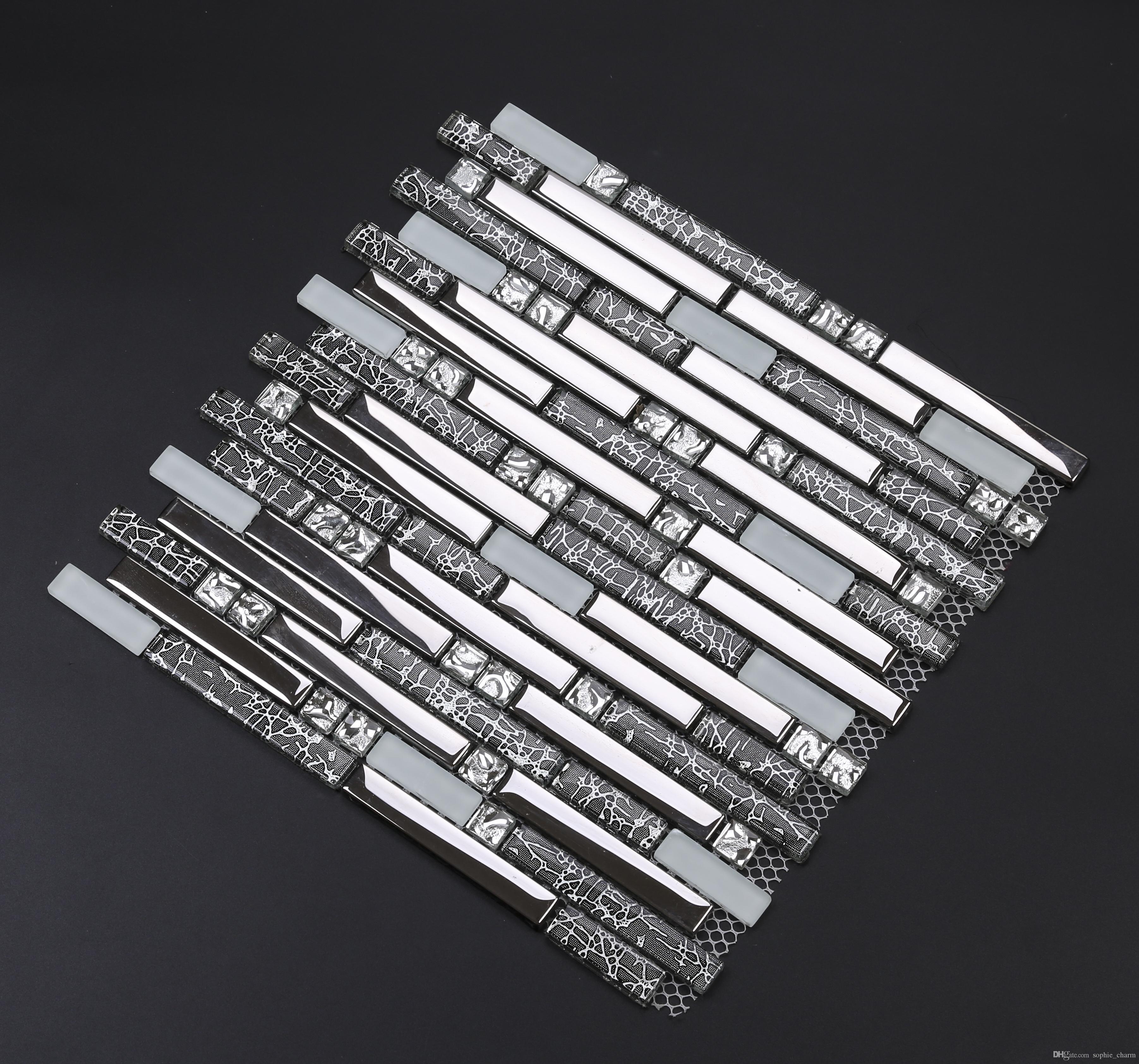- 2020 Electroplated Silver Glass Mosaic Tile Backsplash EGMT005