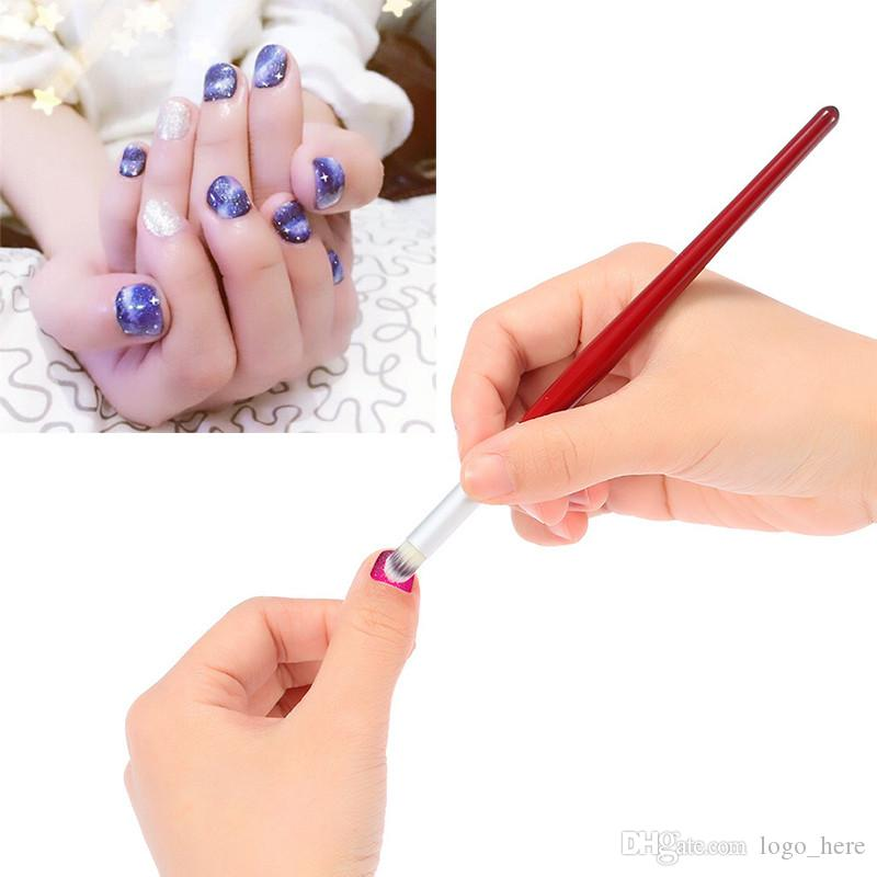 Nail Art Dye Drawing Painting Angled Brush Pen Acrylic UV Gel Polish Gradual Blooming Tips Wood Handle Brushes R0514