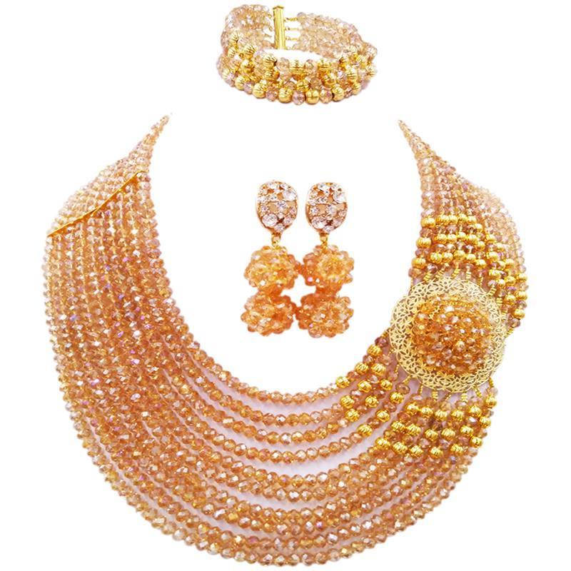 Insiemi di cristallo di cristallo delle donne africane di stile nazionale Champagne oro AB AB per il regalo di anniversario 10C-DPH-09