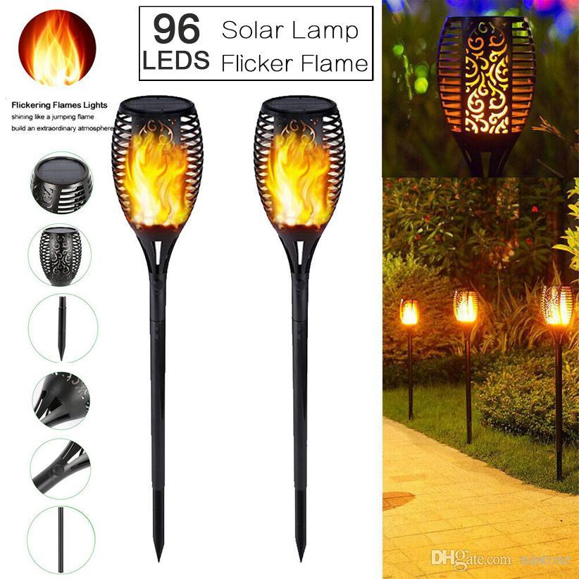 96LED الطاقة الشمسية ضوء الشعلة الخفقان لهب حديقة ماء يارد ضوء مصباح للماء ضوء الشمس تعمل بالطاقة الشمسية لحديقة الديكور
