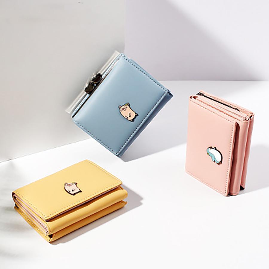 Cartoon Tier gedruckt Brieftasche Frauen Multifunktions kurze Geldbörse herzförmige Schnalle Brieftasche dreifache Dame Multi-Kartenhalter