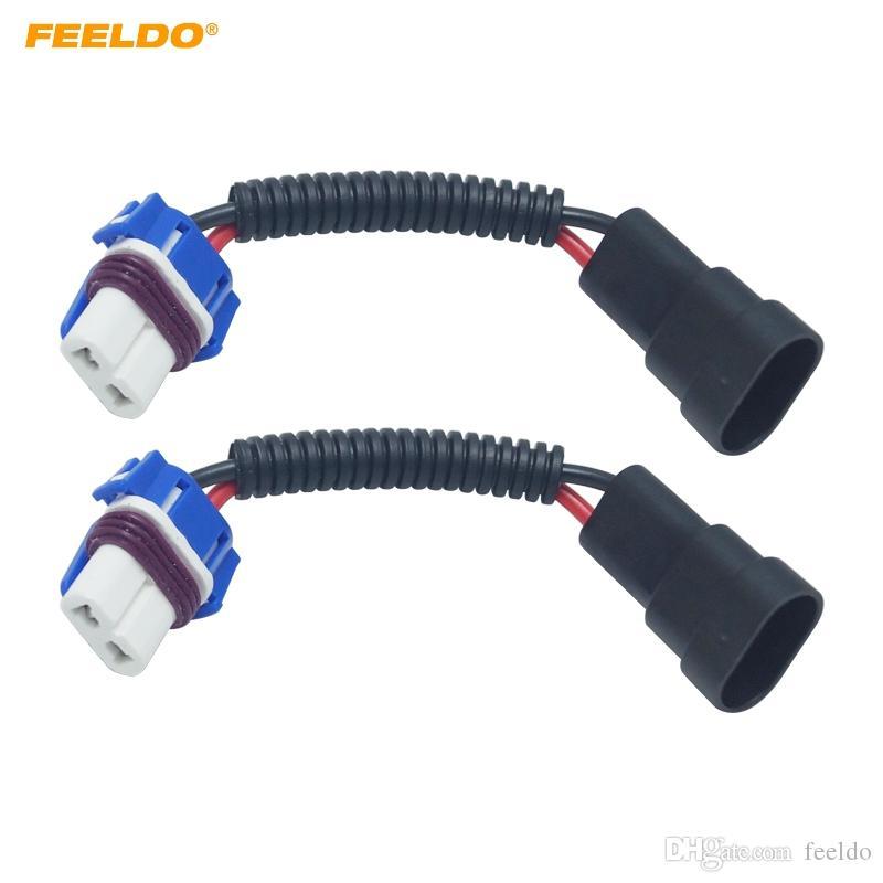 FEELDO 2PCS Car Ceramic Socket 9006 Ceramic Wiring Harness Connector Adaptor For LED/HID Headlight Bulb Socket Holder #5951