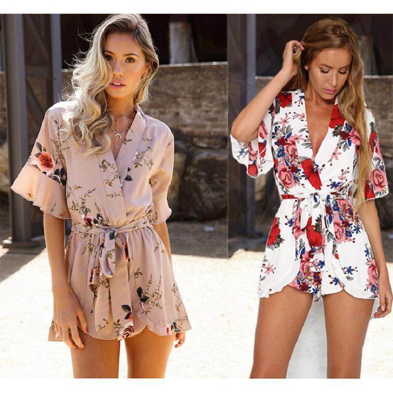 Imprimir Loose Women Designer Macacões Summer manga curta calças curtas Ladies Rpmpers Casual Moda Confortável de vestuário feminino