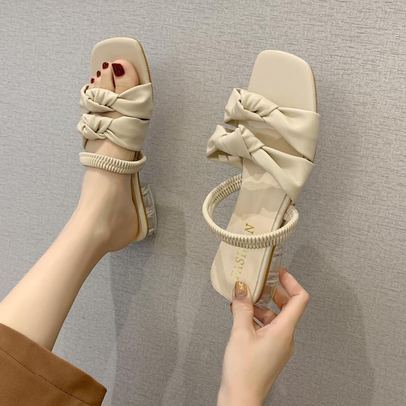 Kadınlar Temizle Topuklar Bej Heeled Sandalet Med All-Match 2020 Kadın Açık Burun Rahatlık Blok Siyah Moda Orta ve Rahatlık Ayakkabı