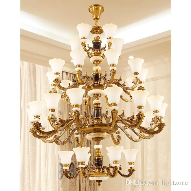 الأوروبية الفاخرة الكبيرة سبائك الزنك الثريات أضواء القلادة فندق فيلا اللوبي الدرج أدت مصابيح قلادة طويلة إضاءة الثريا
