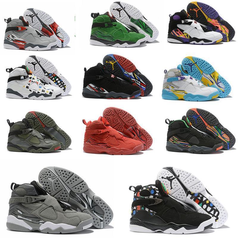 Новый ретро 8S мужской баскетбольной обуви NakeskinИордания 8 VALENTINES ДЕНЬ белый зеленый AQUA Три PEAT CHROME спортивные спортивные sneakersiEfd #