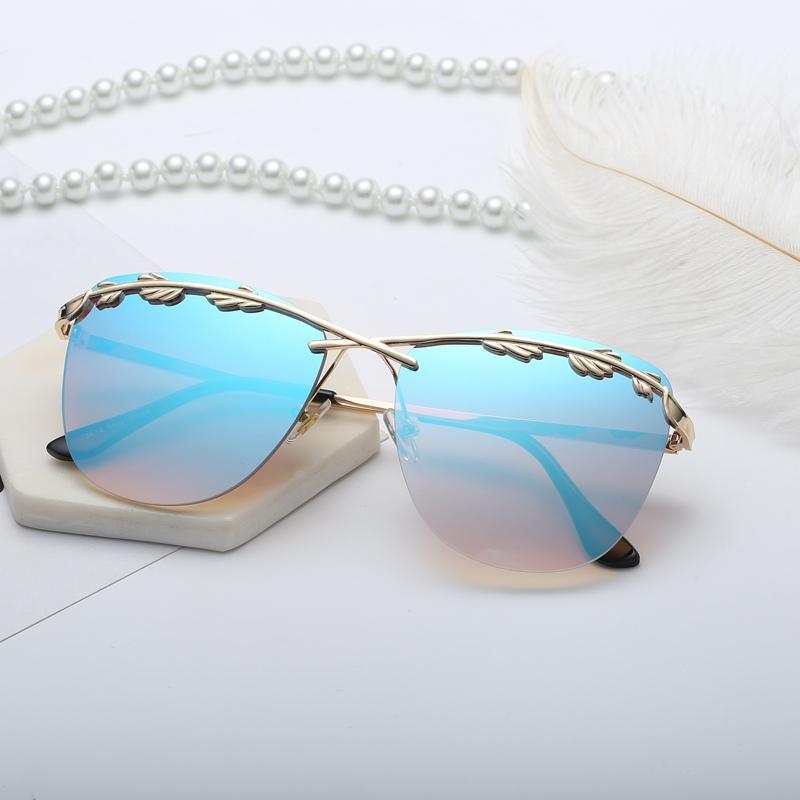 Уличные солнцезащитные очки Женские очки 2019 лист готический стиль старинные тенденции солнцезащитные очки улица негабаритные мода оливковое солнце женское стекло JKCAP