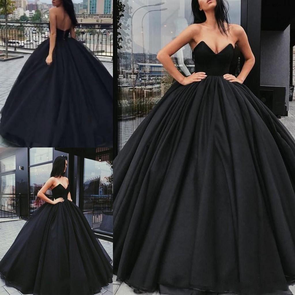 공 가운 2019 블랙 Quinceanera Prom Dresses Sweetheart 지퍼 블랙 스위트 플리츠 16 이브닝 가운 맞춤 제작