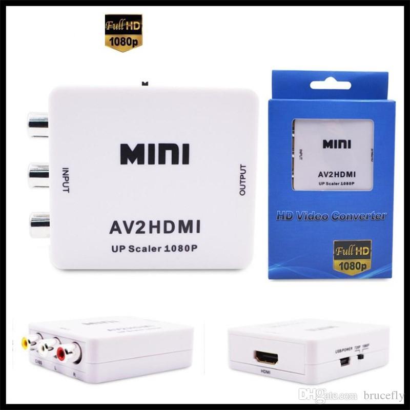 Mini AV HDMI Video Converter Box AV2HDMI RCA AV HDMI CVBS vers HDMI pour la TVHD TV PS3 PS4 PC DVD Xbox Projecteur