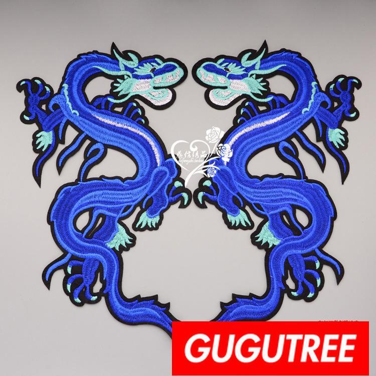GUGUTREE ricamo grandi toppe dragone patch patch applique per abbigliamento BP-836
