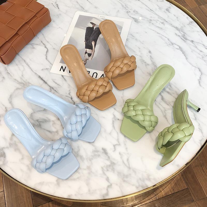 Donna Sandali 2020 Estate sottile Tacchi alti sandali Weave punta quadrata pantofole signore calza il cuoio sexy donna