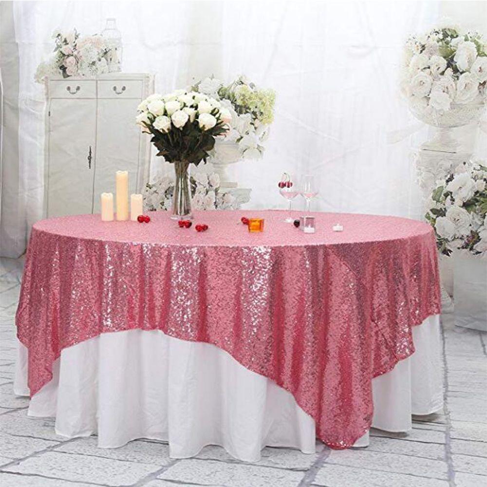 테이블 러너 50''x50 ''사각 핑크 스팽글 식탁보 스팽글 오버레이, 러너, 개츠비 웨딩, 글램 웨딩 장식, 빈티지 웨딩