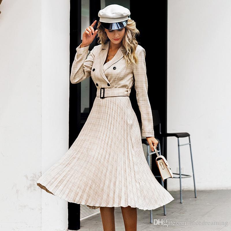 New !! Vintage pleated belt plaid dress women Elegant office ladies blazer dresses Long sleeve female autumn midi party dress