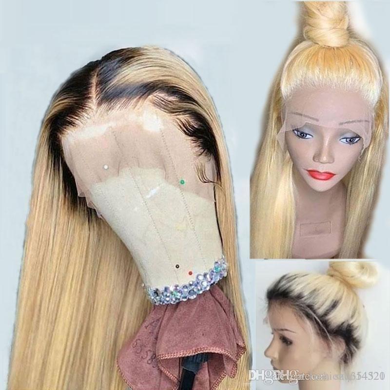 613 Biondo Ombre 360 Trasparente HD pizzo frontale dei capelli umani parrucca Pre pizzicata con il bambino lunghi capelli lisci di Remy del brasiliano