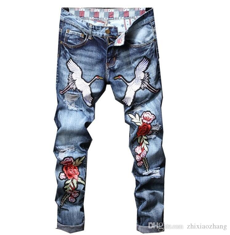 cheap motorcycle jeans men Broken hole embroidery biker jeans men trousers male denim pants masculino blue original design 02