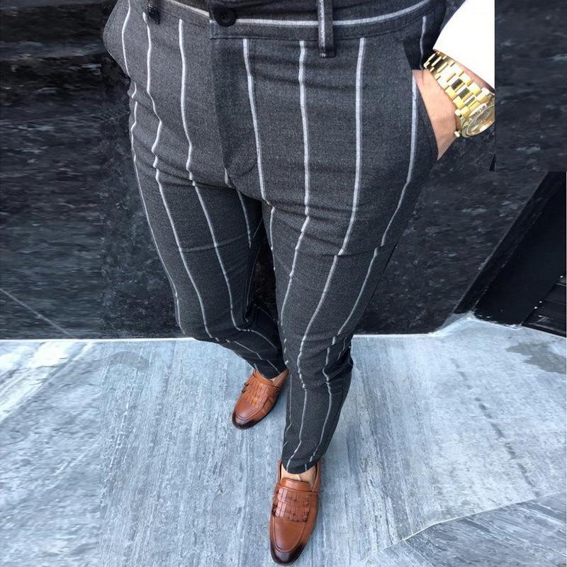 Inteligentes pantalones ocasionales de los hombres de manera del resorte delgado Pantalones Pantalones Hombre Rayado pierna recta Joggers lápiz de los pantalones masculino Streetwear V200411
