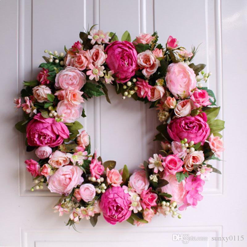 Sıcak Satış Yüksek Kalite Pembe Şakayık Yapay Çiçek Çelenk Kapı Duvar Pencere Noel Ev Düğün Bahçe Dekorasyon