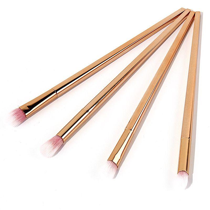 4pcs/set rose gold eye shadow brush Aluminum alloy handle eye makeup brush eye makeup tool set