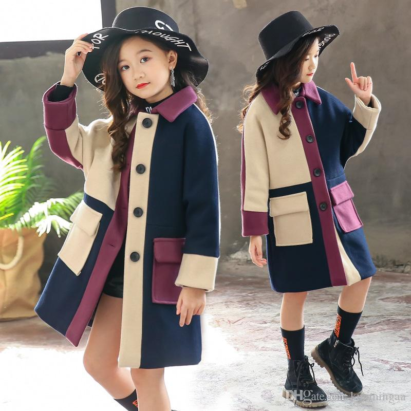 Девушки шерстяное пальто Новые зимние детские шерстяные Ветровка для девочек Мода Верхняя одежда девушки пальто куртка теплая куртка Лоскутная