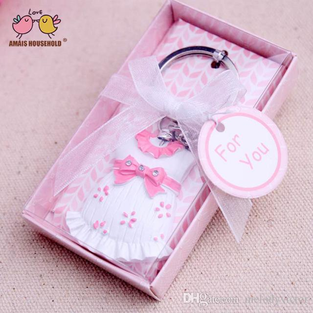 Wholesale Lovely Baby Cloth and Skirt Keychains For Baby Shower Birthday Wedding Party Decoration,Return Gift For Guests in Pink and Blue
