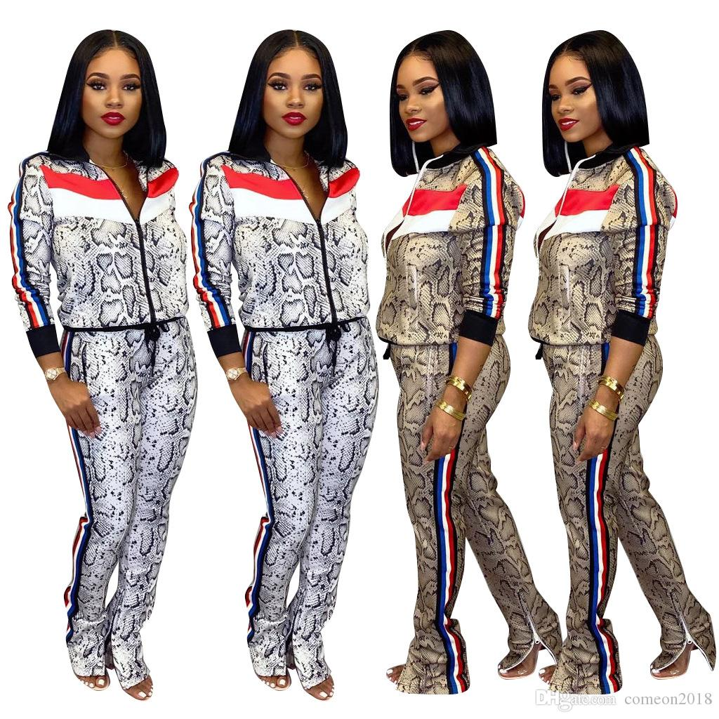 2020 Spring Autumn New Arrival Sports Tracksuits 2 pcs Outfits Pants Women Set Serpentine Tops Long Pants Tracksuits