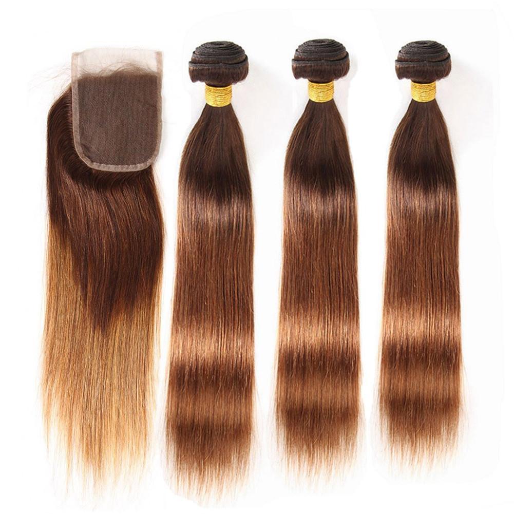# 4/30 Русых Корни Ombre Straight Бразильского Human Связка волос с Closure Брауном в Medium Auburn Ombre 3Bundles с 4x4 Lace Closure