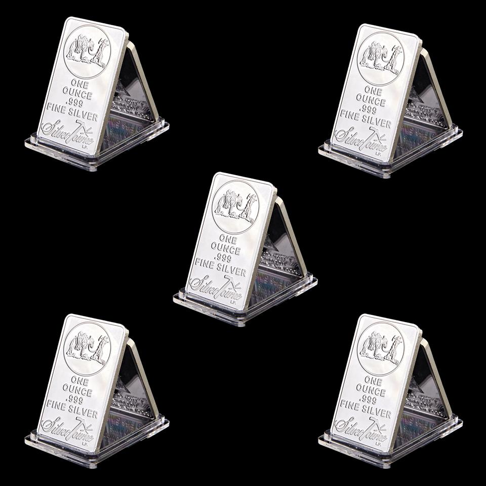 Free Shipping 5pcs USA Towne Prospector 1Oz Bar Ounce Troy Silver Plated Bullion Silver Plated Commemorative Bar