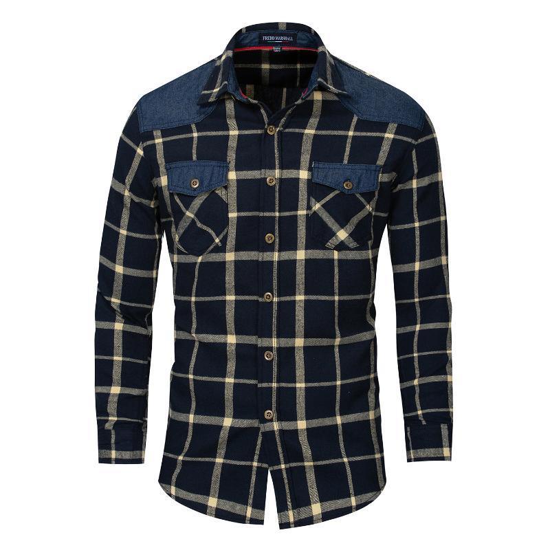 Corgy Mens Casual Long Sleeve Turn Down Collar Plaid Shirt