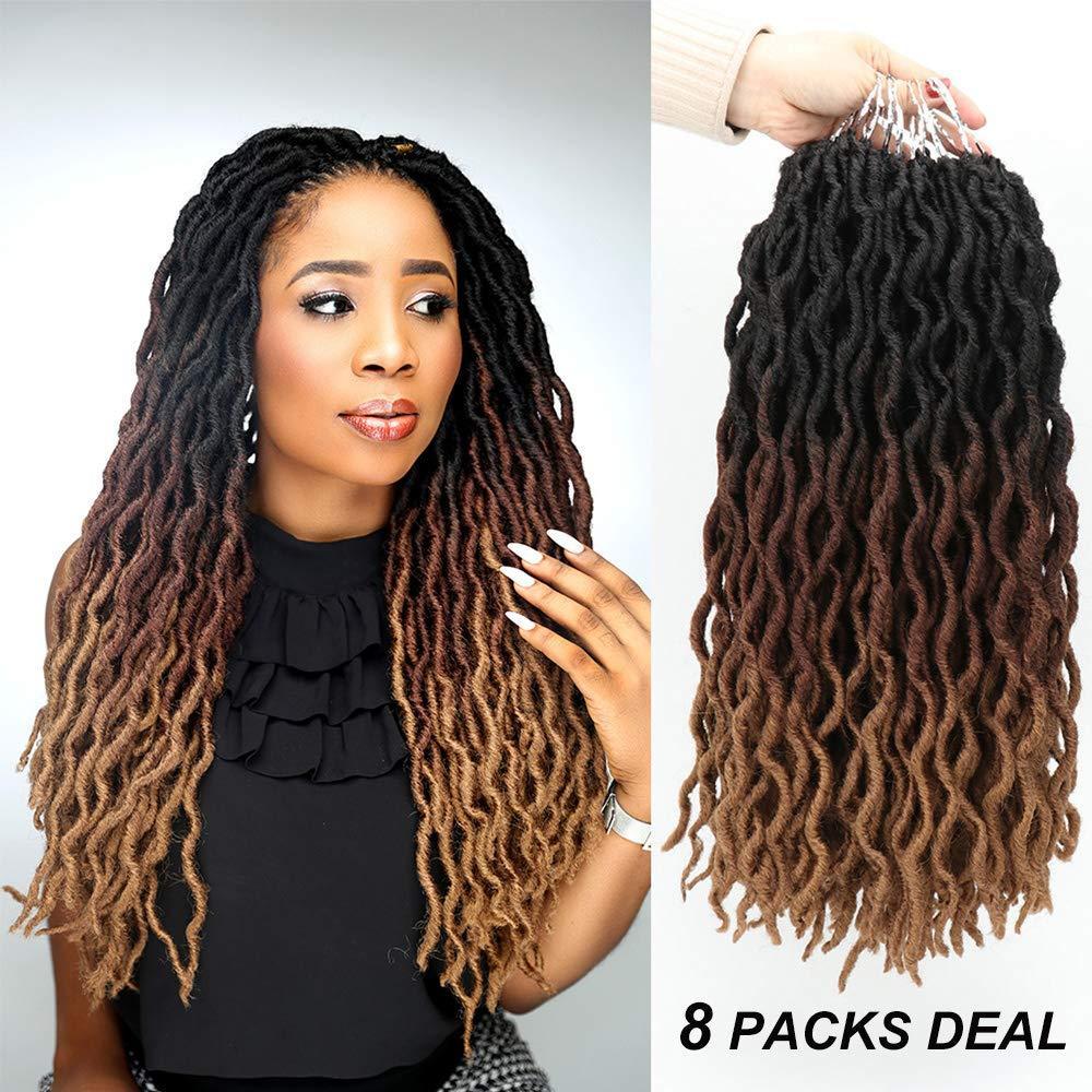 """Wavy Gypsy Locs Ombre Crochet Hair 18 """"8Packs / Lot Goddess Locs Faux Locs Raíces africanas Dreadlocs Extensiones de cabello trenzado sintético"""