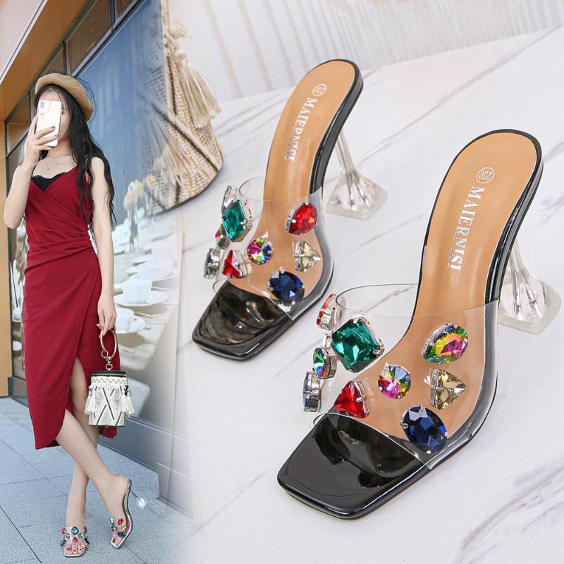 colorido Rhinestone grande transparente de cristal de las sandalias de las mujeres de tacones altos zapatillas damas clara noche Sandalias los zapatos del club de diamantes
