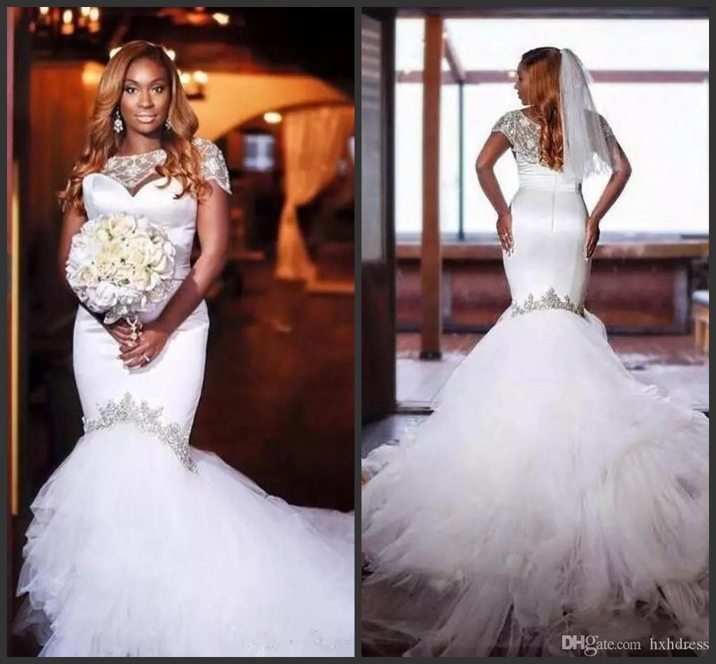 Novo Laço Vintage Floral Longo Train Sereia Vestidos de Noiva de Praia Custom Feito de Jóia Pescoço Comprimento Completo Fishtail Wedding Wedding Plus Size