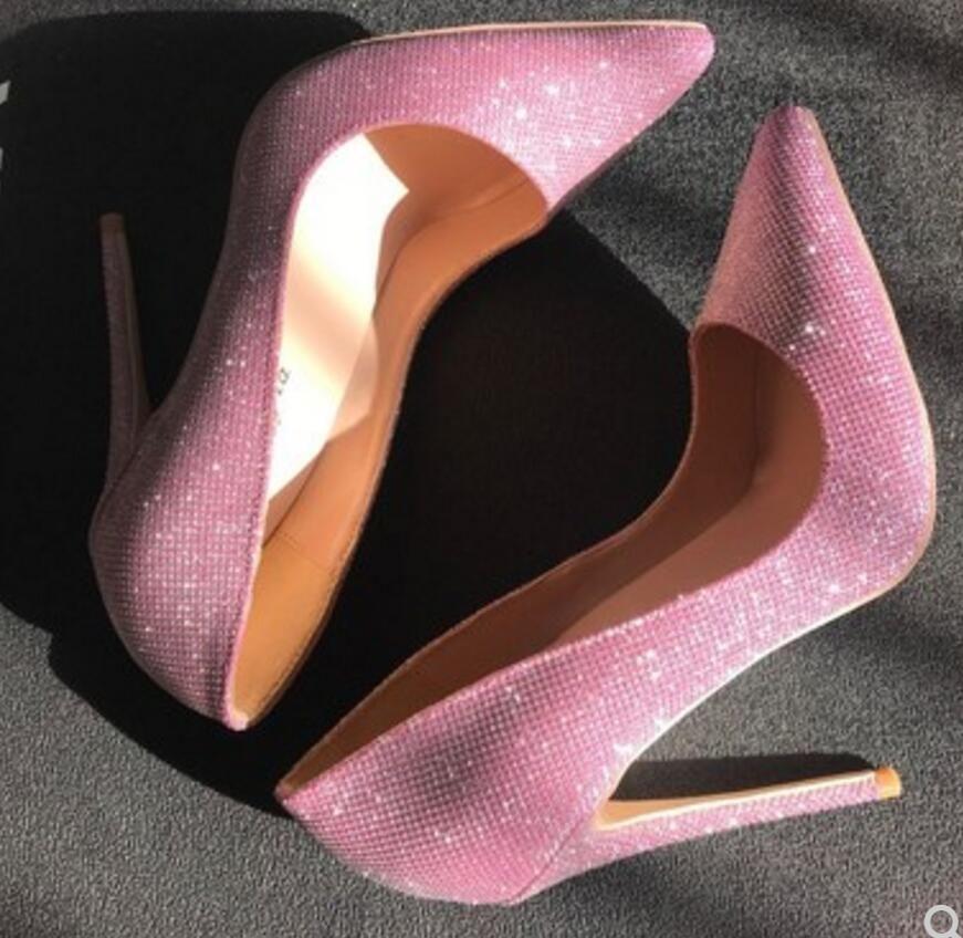 nuovo tipo Pink Paillettes Cusp Scarpe col tacco alto da donna Scarpe col tacco fine 2019 8cm 10cm 12m large size 44 scarpe da sposa fondo rosso sposa