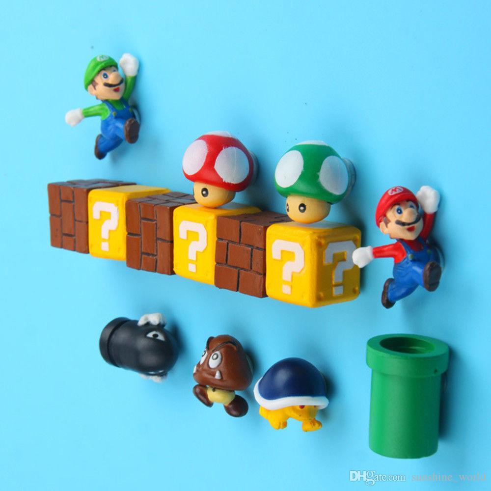 3D Super Mario Bros imán de frigorífico Imanes engomada del mensaje del hombre de mediana Niña Niño Niños Niños juguete de regalo de cumpleaños 10pcs / set