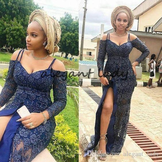 2019 상위 트렌딩 Asoebi 스타일 저녁 공식 드레스 로얄 블루 레이스 섹시 슬릿 긴 소매 앙카라 아프리카 댄스 파티 드레스
