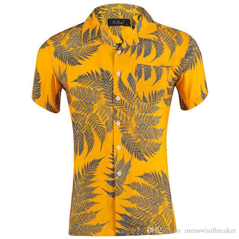 Summer Hawaii отворотом шеи мужские рубашки листьев Печатается с коротким рукавом Свободные мужские праздники Tops