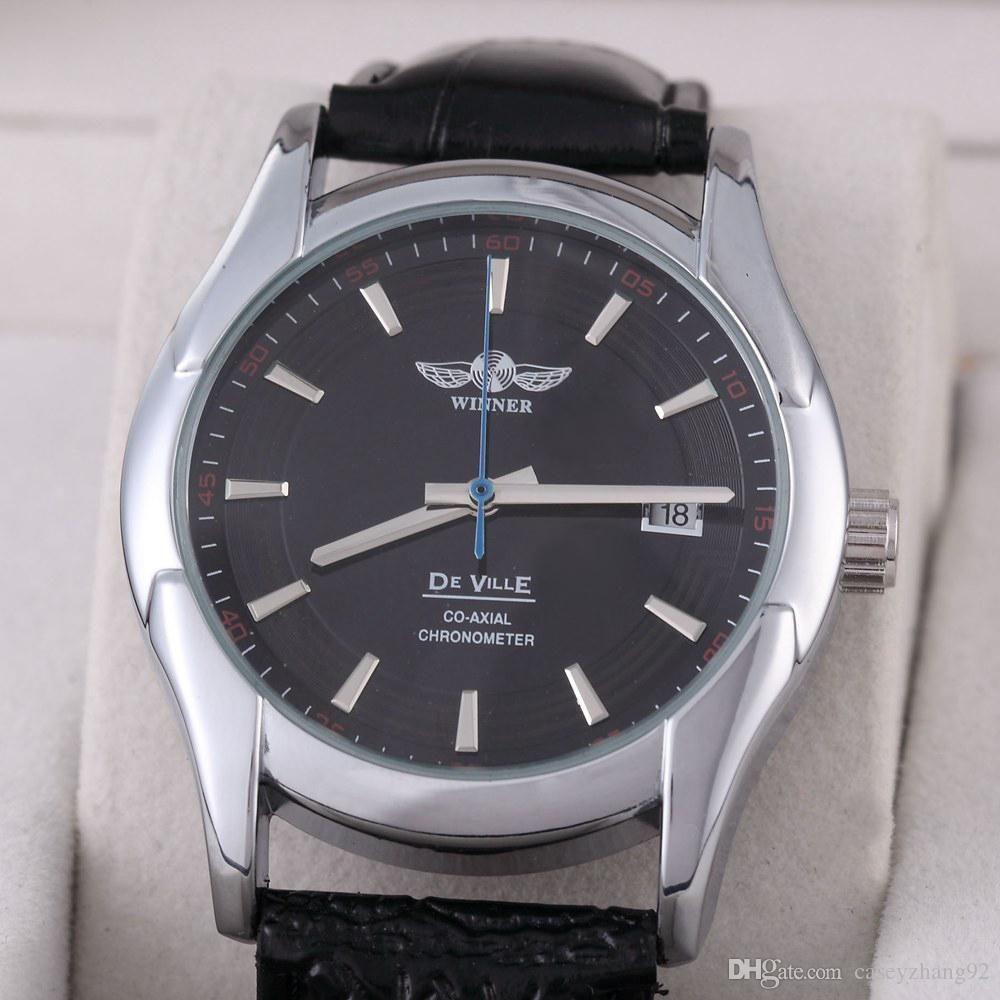 military watch FREE SHIPPING Winner calendar automatic mechanical watch men women's fashion leather gift watch for men