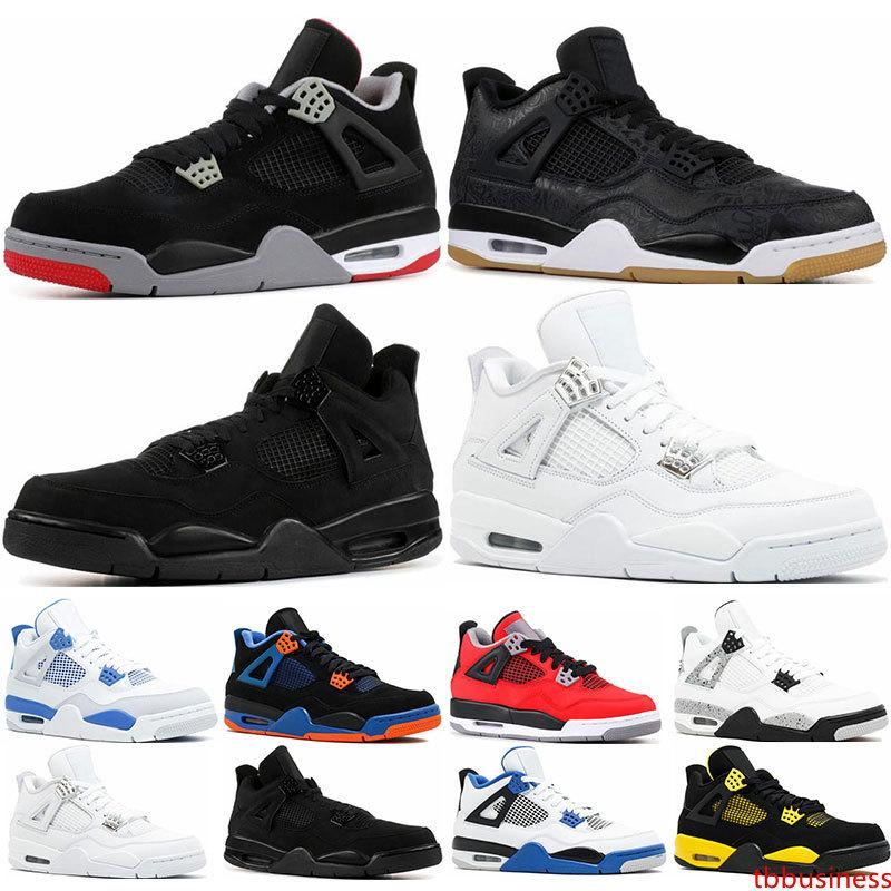 2019 Mens trainers 4s basketball shoes Bred White cement black cat Royalty SE Cavs Raptor Sngl-Dy sports 4 sneaker shoes size 7-13