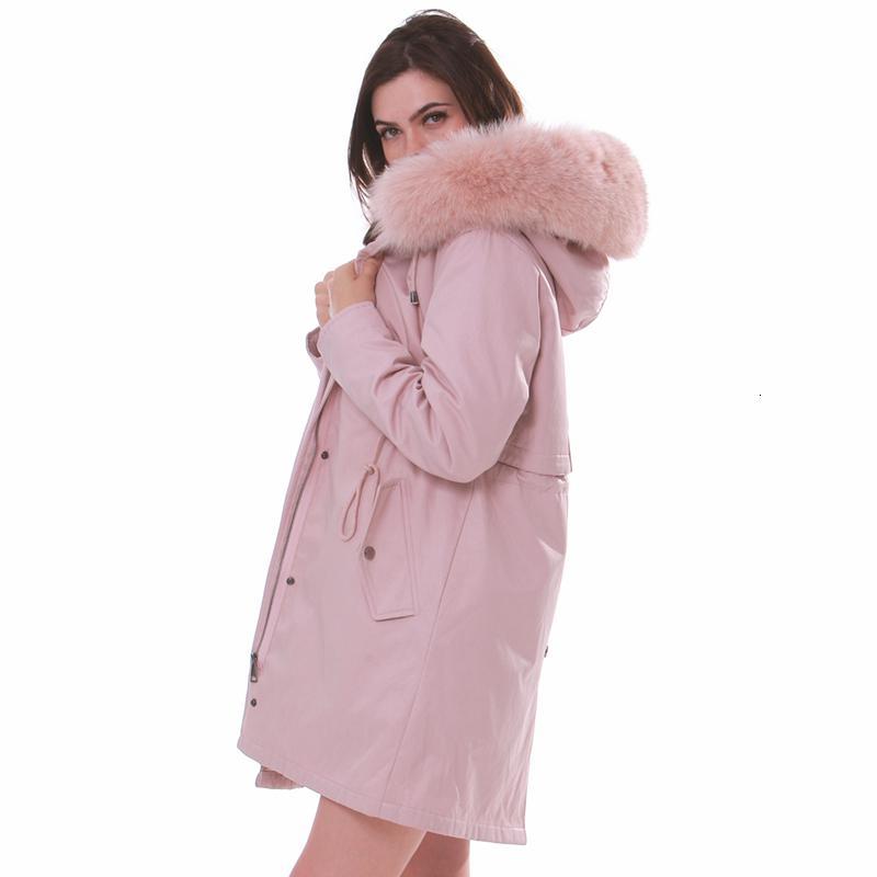 les femmes hiver grande fourrure parkas à capuchon 2020 femmes veste d'hiver blanc fourrure naturelle épais femmes pelisse surdimensionner Y191210