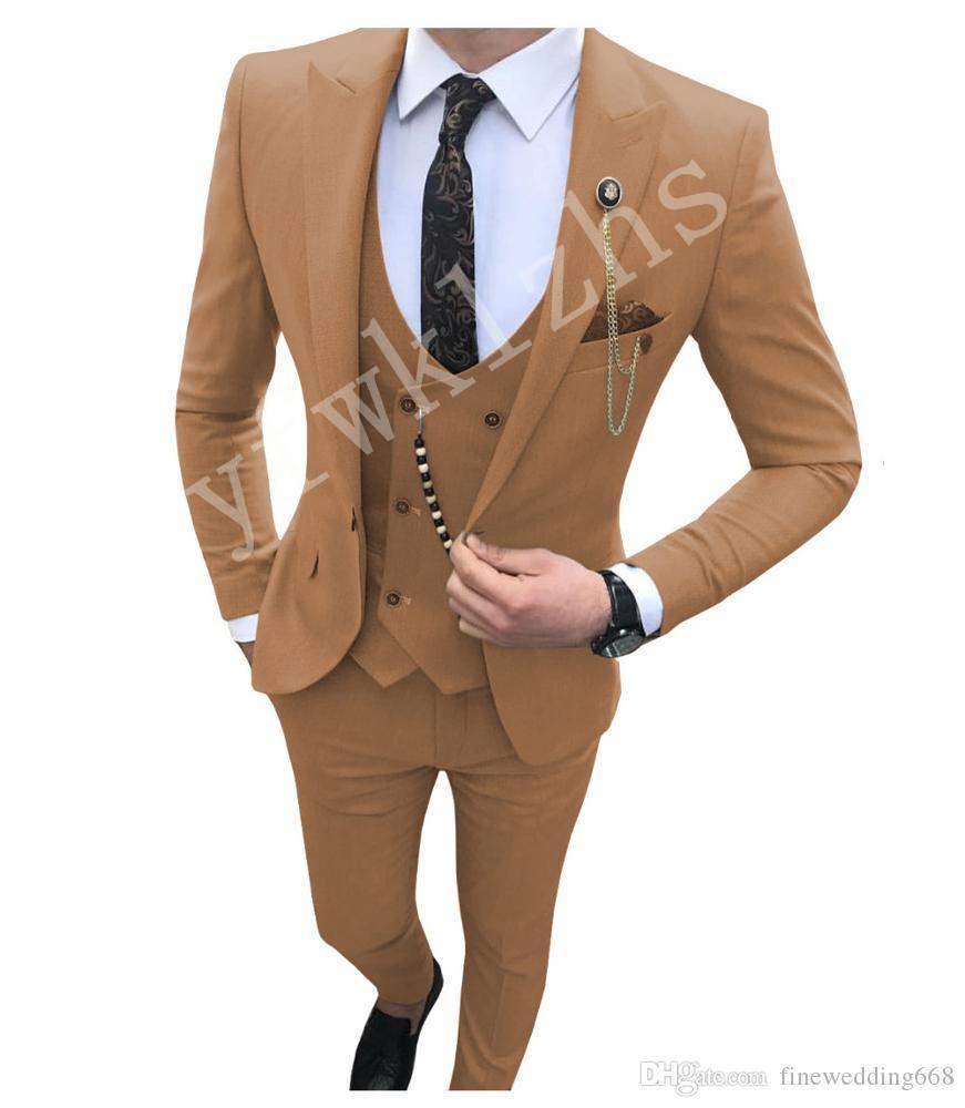Un récent bouton Groomsmen crête Lapel mariage smokings marié hommes Costumes de mariage / robe de bal / dîner Best Man Blazer (veste + Tie + Gilet + Pantalon) 1204