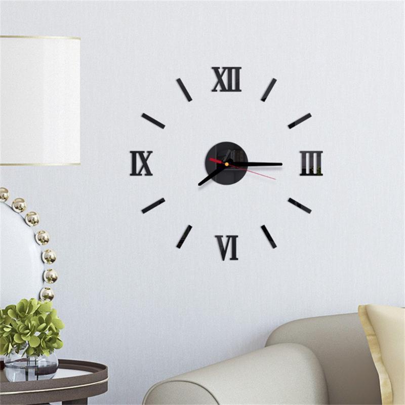 3D Duvar Saati Ayna Akrilik Duvar Sticker Modern Saat Ev Dekorasyonu Duvar Çıkartmaları Aydınlık Dekorasyon Salon Kuvars İğne