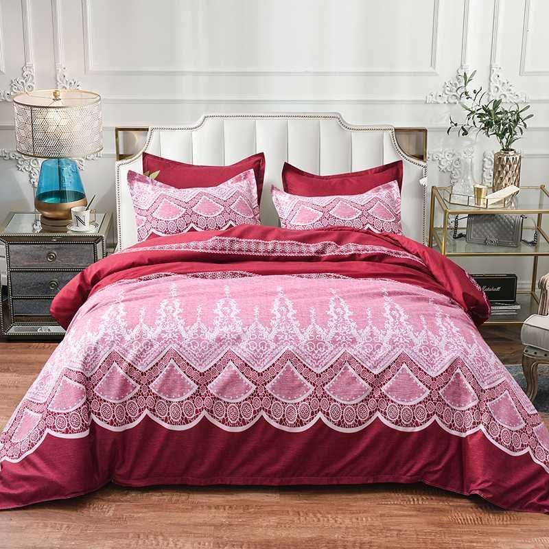 Wazir Red Jacquard Linens Bedding Sets Luxo Lace gêmeo rainha rei edredon cobrir fronha Consolador da cama ajustado marroquinos Bedclothes