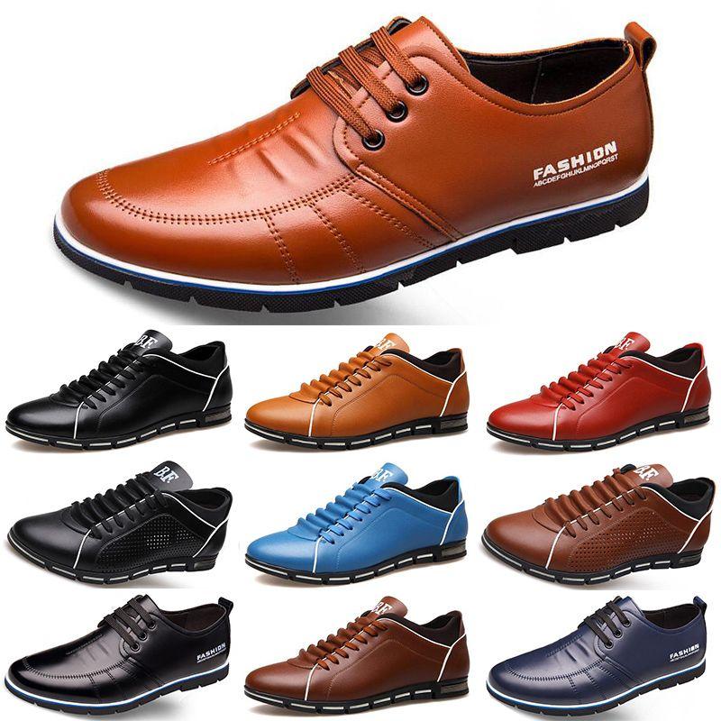 2020 Горячие Продажа Дизайнерские мужчины кожаные ботинки черный темно-синий коричневый бизнес моды плоские партии мужские тренеры тапки Color7